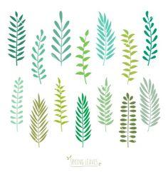Set of spring green leaves vector by Vodoleyka on VectorStock®