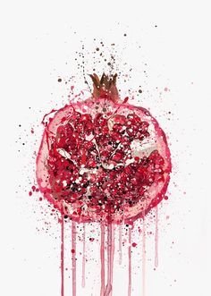 Our pomegranate art print is the perfect way to bring vibrance and colour to any room in the house. Mix and match with other prints in this collection to create a stunning gallery wall! Pomegranate Art, Pomegranate Drawing, Arte Indie, Natural Form Art, Fruit Painting, Paintings Of Fruit, Kitchen Wall Art, Kitchen Art Prints, Fruit Art