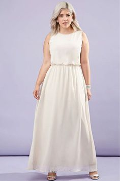 If we'd have known our only future formal-event invites would be for weddings, we would have worn white when we could still get away with it.Forever 21 Rhinestone Chiffon Maxi Dress, $39.90, available at Forever 21. #refinery29 http://www.refinery29.com/prom-dresses#slide-6