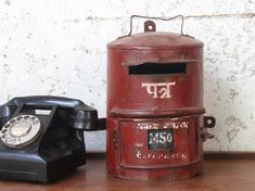 An original small vintage post box - Scaramanga is super proud of its recently sourced collection of authentic bright red metal post boxes from Northern India. Vintage Shelving, Vintage Shelf, Vintage Outdoor Furniture, Industrial Furniture, Money Jars, Salvaged Doors, Kitchen On A Budget, Kitchen Ideas, Kitchen Decor