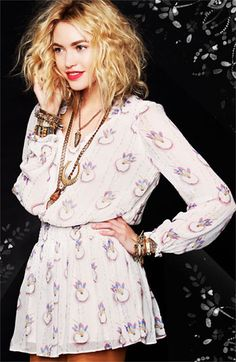 Love her hair, love the print if the fabric, love her jewelry - Free People Dress & Accessories | #Nordstrom