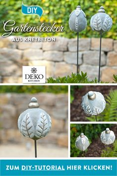 With Knetbeton pretty garden plugs can be individually customized. DIY: With Knetbeton pretty garden plugs can be individually customized.DIY: With Knetbeton pretty garden plugs can be individually customized.