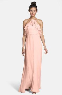 Amsale Ruffle Crinkled Silk Chiffon Halter Gown #amsale #bridesmaid #pink
