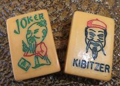 Vintage Bakelite Ten Flowers Kibitzer  Joker Tiles