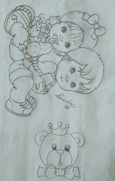 Girl Drawing Sketches, Baby Drawing, Baby Embroidery, Hand Embroidery Stitches, Cute Coloring Pages, Coloring Books, Fuzzy Posters, Kids Canvas, Simple Cartoon
