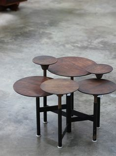 Carson Thomson Prototype articulated table Studio designed c. 1965 Mahogany and enameled steel (=)