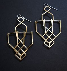 Brass Structure Earrings  Architectural Truss by JamieSpinello, $50.00