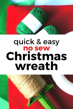 quick and simple dollar store Christmas wreath for front door project. This new sew wreath is an easy way to Decorate for Christmas on a budget with this fast wreath you can make in an hour. #hometalk