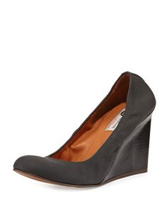 Leather Ballerina Wedge Pump, Black by Lanvin at Neiman Marcus.