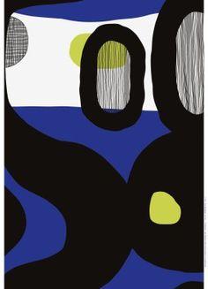 Marimekko Mustekala fabric designed by Jenni Tuominen. 100% Heavyweight cotton.