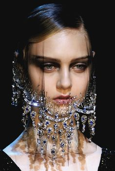 I want a lace jewel veil.  beautyandcuriosity:    HER FACE HAS THE MYSTERY LIKE THE MONA LISA & THE SPYHNX.  moldavia:    Armani Privé Haute Couture F/W 2012