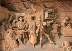 Lime wood Austrian carving by master carver Steiner A scene depicting a couple dancing in a typical Tyrolean period interior. Framed in period oak frame and top lit. Wood Carving Patterns, Wood Carving Art, Carving Designs, Pottery Sculpture, Wood Sculpture, Woodworking Projects That Sell, Art Carved, Wooden Art, Mural Art