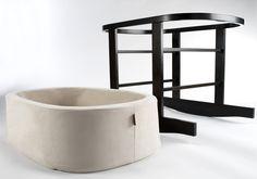 Modern upholstered ninna nanna bassinet - Stone Basket/Dark Brown Base shown.