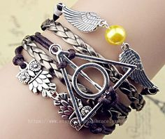 Snitch and the deathly hallows - harry potter and the owl punk bracelet, golden bronze woven leather, Christmas gifts on Etsy, $5.99