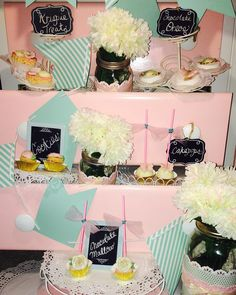 #Demo #gardentheme #mini #desserts #Teaparty #vintage #butterflygarden #rosegarden #pink #gold #robinseggblue  #cakepops #krispietreats #chocolate #chocolateoreos #sugarcookies