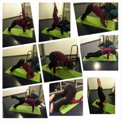 #happyhealthyyogis Extended side angle pose to high lunge, Dolphin, Downdog to dolphin, Crow pose, Push-up to one legged push-up, Plow pose, Shoulderstand