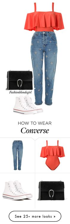 """""""Freya"""" by fashionblondegirl on Polyvore featuring ADRIANA DEGREAS, Topshop, Converse and Gucci"""