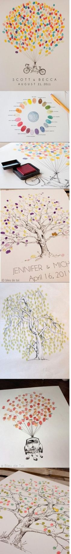 Fingerprint ideas. wedding guest books / family reunions. So cute!! via Jeannie Bowermeister