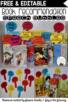 Engage your students and encourage them to try new books with these FREE book recommendation speech bubbles. Created by Jessica Lawler * Joy in the Journey