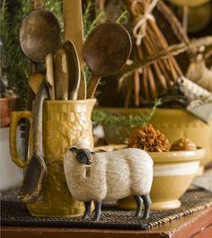 Vintage kitchen vignette with sheep Mantel Styling, Vibeke Design, Estilo Country, Little Corner, Country Primitive, Primitive Decor, Country Sampler, Prim Decor, Primitive Kitchen