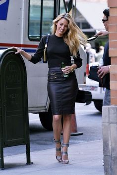 Blake....in an awesome leather skirt!