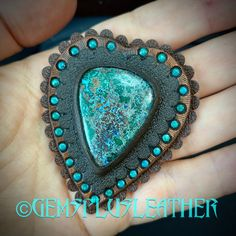 The #conchos are ready and listed as samples in my #etsyshop #gemsplusleather 😊 If you'd like to order a stunning accessory for your favorite #bag you're welcome to contact me 🙃 #turquoise #chrysocolla #customleather #tooledleather #gem #gemstone #leather #concho #handpainted #leatherwork #Leathersmith #leatherworks #leathercraft #handmade #leatherart #artisan #boho #fantasy #gemstones #gemsforall #gems #handmadewithlove #leatherwork #bagaccessories #bohobags Leather Ring, Leather Art, Painting Leather, Custom Leather, Leather Tooling, Leather Jewelry, Boho Jewelry, Unique Jewelry, Tooled Leather
