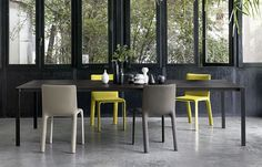 Rectangular table / contemporary / wooden / extending - THIN-K LONGO by Luciano Bertoncini - Kristalia