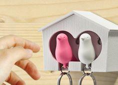 小鳥と一緒に出掛けて帰宅後は小屋に戻す。