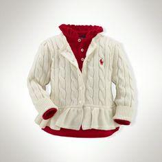 Cable-Knit Peplum Cardigan on shopstyle.com
