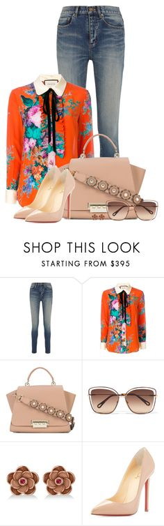 """Florals [002]"" by myxvonwh ❤ liked on Polyvore featuring Yves Saint Laurent, Gucci, ZAC Zac Posen, Chloé, Allurez and Christian Louboutin"