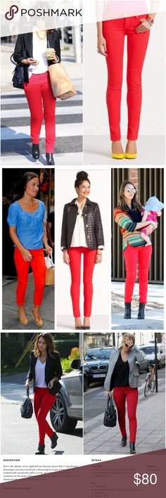 "'Broome Street' Red Jeans Stunning classic red ""Broome Street"" jeans, a favorite of Jessica Alba, Pippa Middleton and Bar Rafaeli, all shown in following pictures wearing them. In the quintessential Kate Spade red. Gently used in good condition...slight wear around front button and color is a little faded, as seen in close up picture. Size 23.  😁Don't be afraid to ask questions😁  No trading please, but I love offers! ❤️ kate spade Jeans Skinny"