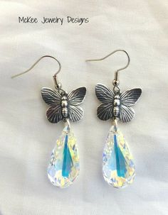 Clear AB white crystal Butterfly and sterling silver earrings. McKee Jewelry Designs - Lovely.