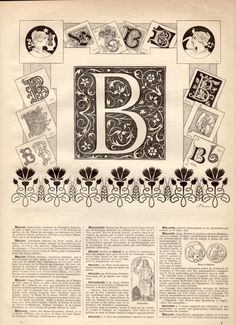 B Alphabet Antique Print 1897 Lithograph Letter B by Craftissimo, €12.00