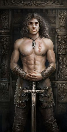 By The Sword :: Art By Nathie @Rozlynn Peterson Peterson Peterson Peterson Peterson Peterson Waltz, fantasy art, warrior, nude, muscles, sword, long hair, hunk, handsome, masculin, beautiful, lines, art.