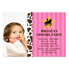 Cute Photo Little Cowgirl Birthday Party Personalized Invitations