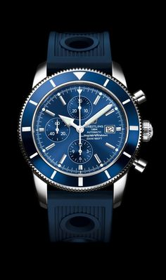 Superocean Héritage Chronographe 46 - Breitling - Instruments for Professionals - either blue rubber or blue calfskin strap - HKD49,660 in Henessey road