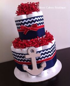 Mini 2 Tier Nautical Diaper Cake Boy Baby by BabeeCakesBoutique Nautical Diaper Cakes, Diaper Cake Boy, Baby Boy Cakes, Nappy Cakes, Baby Boy Themes, Boy Baby Shower Themes, Baby Boy Shower, Baby Shower Gifts, Baby Gifts