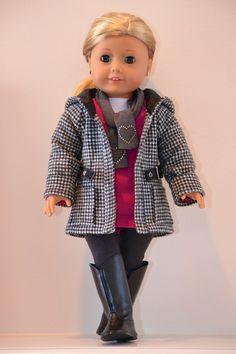 18 inch, American Girl Doll Clothing. Active wear  Ensemble. T-shirt, tunic, leggings, jacket, scarf.. $55.00, via Etsy.  SOLD