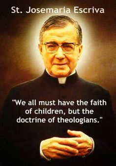St. Josemaria Escriva...which means we need to keep reading good quality books about our catholic faith so that we are well informed and have the vocabulary in which to articulate it.