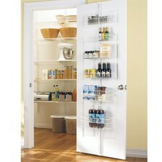 White elfa Door & Wall Rack System Components.  Easy installation - no drilling necessary.  The standard attaches to hooks that go over the door.  Great for pantry, linen closet, or anywhere you need some extra storage behind a door.