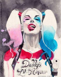 #HarleyQuinn #margotrobbie #suicidesquad #watercolor commission for @emeraldcitycomicon #eccc #emeraldcity #emeraldcitycomicon