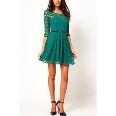 Yoins Yoins Dusty Green Lace Skater Dress ($21) ❤ liked on Polyvore featuring dresses, green, round neck dress, transparent dress, green dress, see through dress and sheer dress