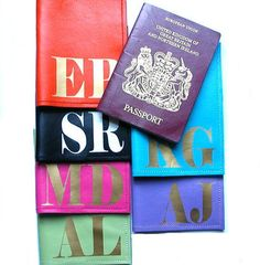 Mia Personalized Monogram Initial Leather Passport Cover.  A travel must have for first time travelers and frequent flyers.