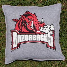 Throw Pillow Sham Cover made from Razorbacks University of Arkansas T-shirt. $20.00, via Etsy.