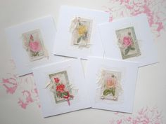 Greeting cards, made from vintage 'roses' cigarette cards and antique lace