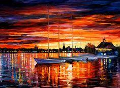 Sails at yacht club by L.Afremov
