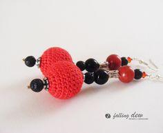 Venus Crochet Earrings In Red And Black  £12.00