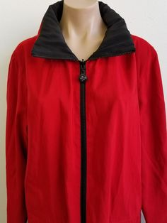 Mycra Pac Reversible Rain Coat Jacket Red and Black With Hood Size M/L  #MYCRAPAC #Raincoat