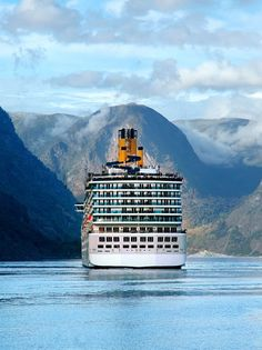 Costa cruise ship on fjord in Norway Costa Cruise Ships, Beautiful Vacation Spots, Norway Fjords, Msc Cruises, Norwegian Cruise Line, Best Cruise, Princess Cruises, Lofoten, Disney Cruise Line