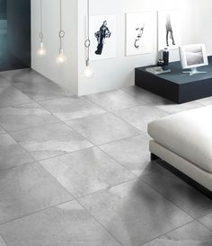 Graphite Porcelain Tiles in Ash